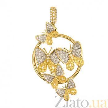 Кулон из желтого золота с фианитами Махаон VLT--ТТ3414-1
