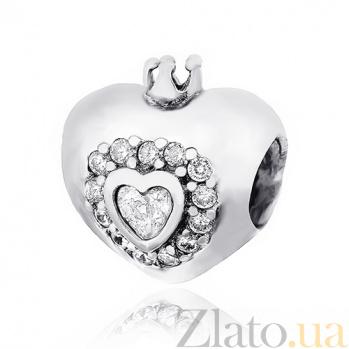 Серебряный шарм с фианитами Страстное сердце 000028781