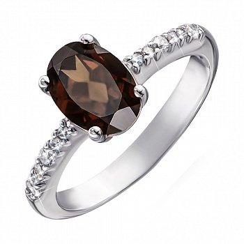 Серебряное кольцо с раухтопазом и фианитами 000064379