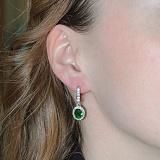 Серебряные серьги Таисия с зелёным цирконием