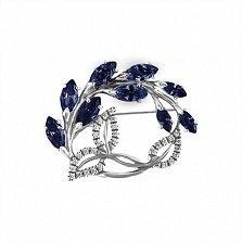 Брошь из серебра Цветущая ветвь с синими и белыми фианитами
