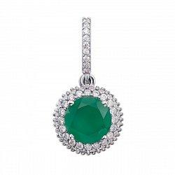 Кулон из серебра с зеленым агатом и фианитами 000012657