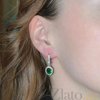 Серебряные серьги Таисия с зелёным цирконием Таисия с/зел