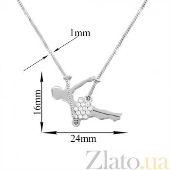 Серебряное колье Качели с родиевым покрытием и фианитами 000080842