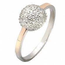 Серебряное кольцо с белыми фианитами и золотой вставкой Любава