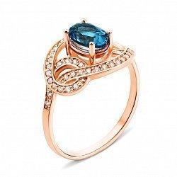 Кольцо из красного золота с лондон топазом и фианитами 000135897
