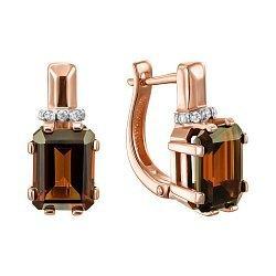 Серьги из красного золота с раухтопазом и фианитами 000145539
