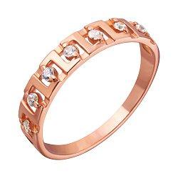Кольцо из красного золота с фианитами 000001053