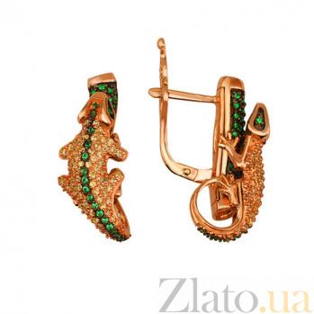 Серьги из красного золота с фианитами Ящерица VLT--ТТ2215-2