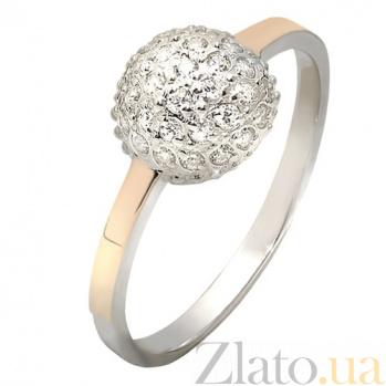 Серебряное кольцо с белыми фианитами и золотой вставкой Любава BGS--693к