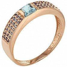 Золотое кольцо Эмили с топазом и фианитами