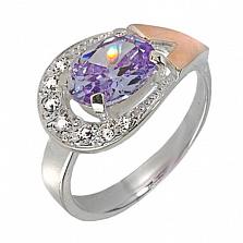 Серебряное кольцо с золотой вставкой и фианитами Рио