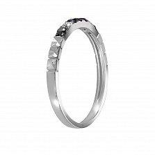 Золотое кольцо Ночные огни в белом цвете с сапфирами, рубином, белыми и черными бриллиантами