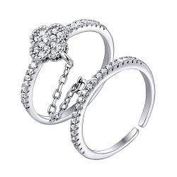 Серебряное двойное кольцо с цирконием 000124731