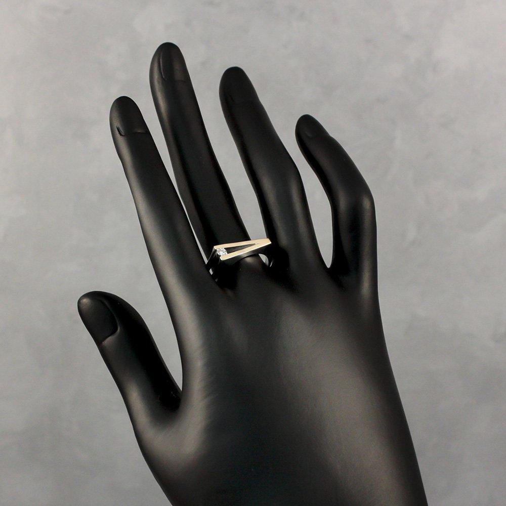 Серебряное кольцо Вега с раздваивающейся шинкой, фианитом и золотой накладкой
