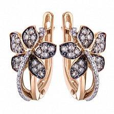Золотые серьги с бриллиантами Золотая орхидея