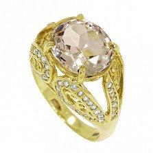Золотой перстень Женева в желтом цвете с топазом и фианитами