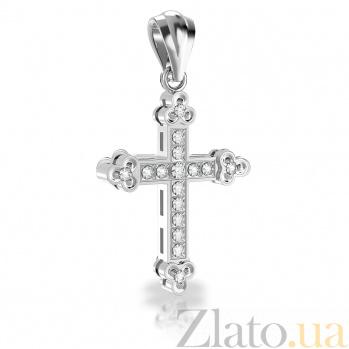 Золотой крестик Душевная гармония в белом цвете с бриллиантами VLA--32889