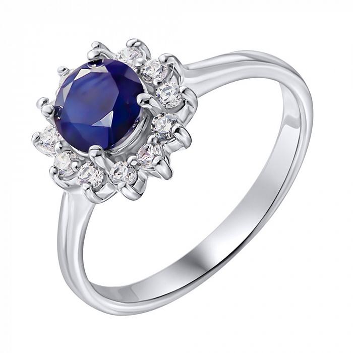 Серебряное кольцо с сапфиром и цирконием 000137291 000137291