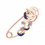 Булавка из красного золота с голубыми топазами, синими фианитами и родированием 000129547