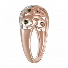 Кольцо из красного золота Наталья с бриллиантами и топазами