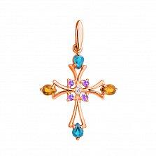 Золотой декоративный крест с топазами, цитринами, аметистами и бриллиантом Рим