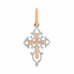 Серебряный крестик Божья помощь с позолотой 000025213