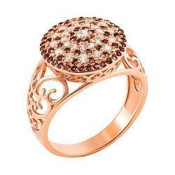 Золотое кольцо Ксения в красном цвете с коньячными и белыми фианитами