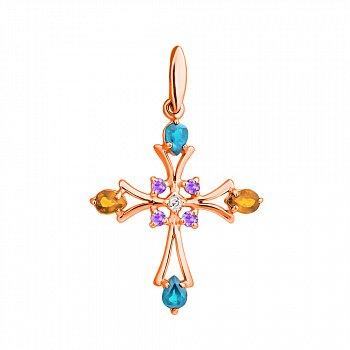 Золотой декоративный крест с топазами, цитринами, аметистами и бриллиантом 000021540