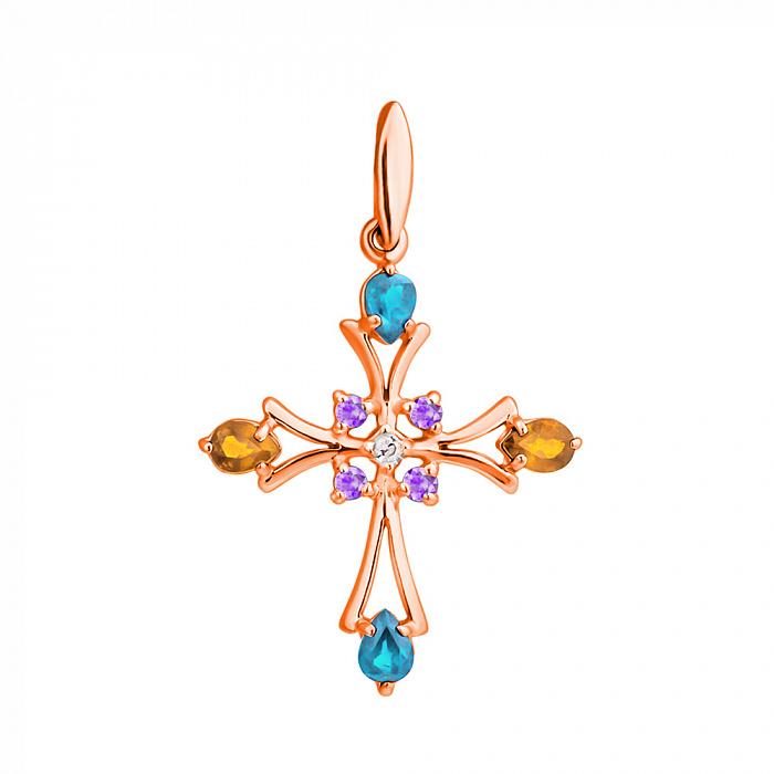 Золотой декоративный крест с топазами, цитринами, аметистами и бриллиантом 000021540 000021540