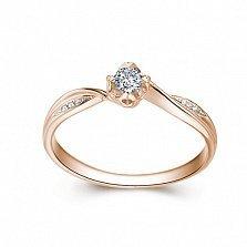 Золотое помолвочное кольцо Emily в белом цвете с асимметричной шинкой и бриллиантами, 0,09ct