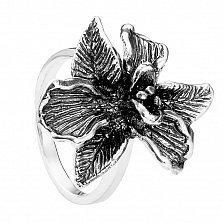 Серебряное кольцо Магнолия с чернением