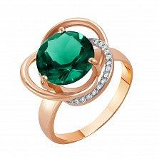 Кольцо в красном золоте Кристина с синтезированным зелёным кварцем и фианитами