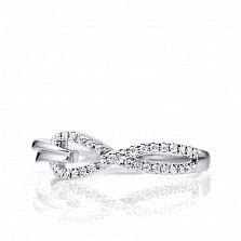 Золотое кольцо Вечная петля в белом цвете с асимметричной шинкой и бриллиантами, 0,13ct