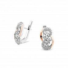 Серебряные серьги Габриэлла с золотыми накладками, фианитами и родием