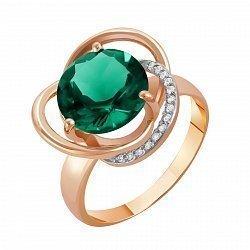 Кольцо в красном золоте с синтезированным зелёным кварцем и фианитами 000022567