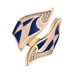 Кольцо в желтом золоте с бриллиантами и эмалью 000073417