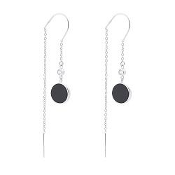 Серебряные серьги-протяжки Харизма с эмалью и фианитами