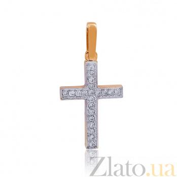 Золотой крестик с бриллиантами Сияние EDM-КР7136