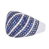 Золотое кольцо с сапфирами и бриллиантами Морские глубины