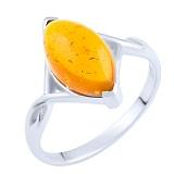 Кольцо из серебра Ясмина с янтарем