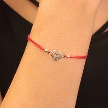 Шелковый браслет Eva с серебряной вставкой в форме сердца и короной над именем