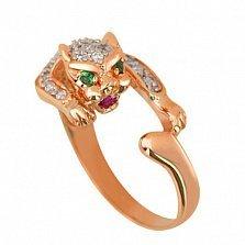 Кольцо из золота Пантера с фианитами