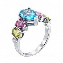 Кольцо из белого золота с голубым топазом, розовыми сапфирами, хризолитами и бриллиантами 000129552