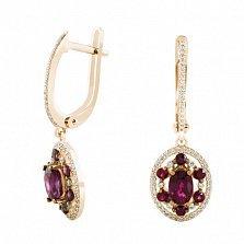 Золотые серьги-подвески Аврора с рубинами и бриллиантами
