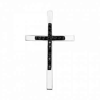 Хрестик з білого золота з чорними діамантами 000126357