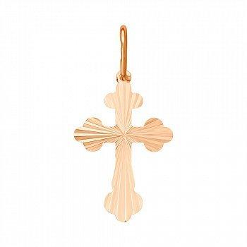 Крестик из красного золота без распятия с алмазной гранью 000133280
