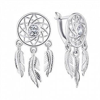 Срібні сережки-підвіски Ловець снів 000148557