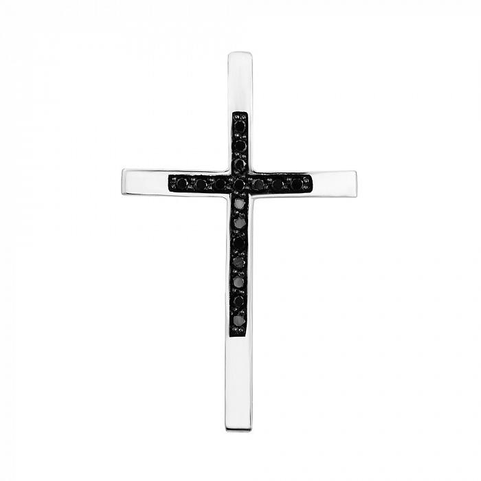 Крестик из белого золота с черными бриллиантами 000126357 000126357