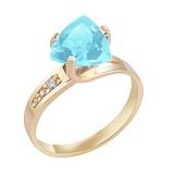 Кольцо в красном золоте Марта с голубым топазом и фианитами